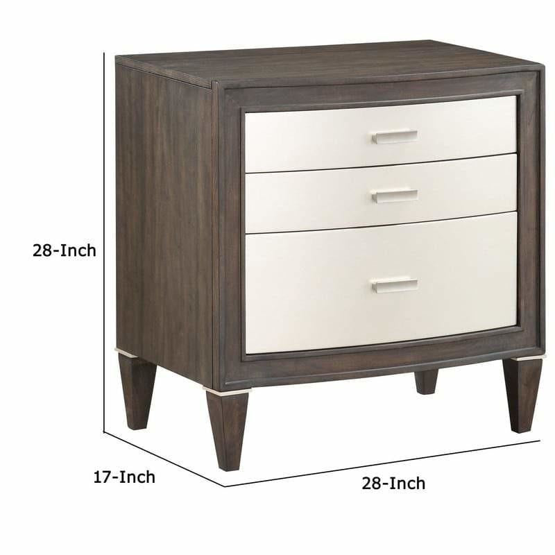 Nightstands - Wooden Nightstand With 3 Storage Drawers, Brown And White