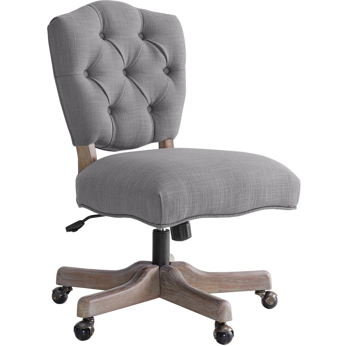 Office Chairs - Armless Office Chair With Wooden Base And Tufting, Gray And Brown