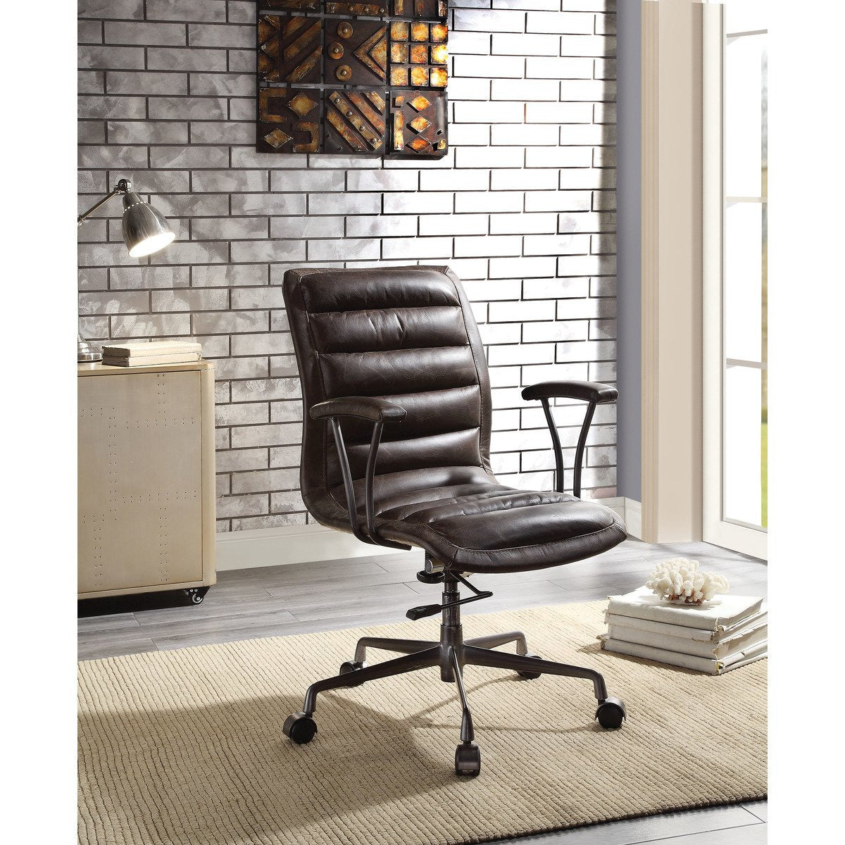 Office Chairs - Tufted Leatherette Office Chair With Adjustable Metal Base And Padded Armrest, Brown And Gray