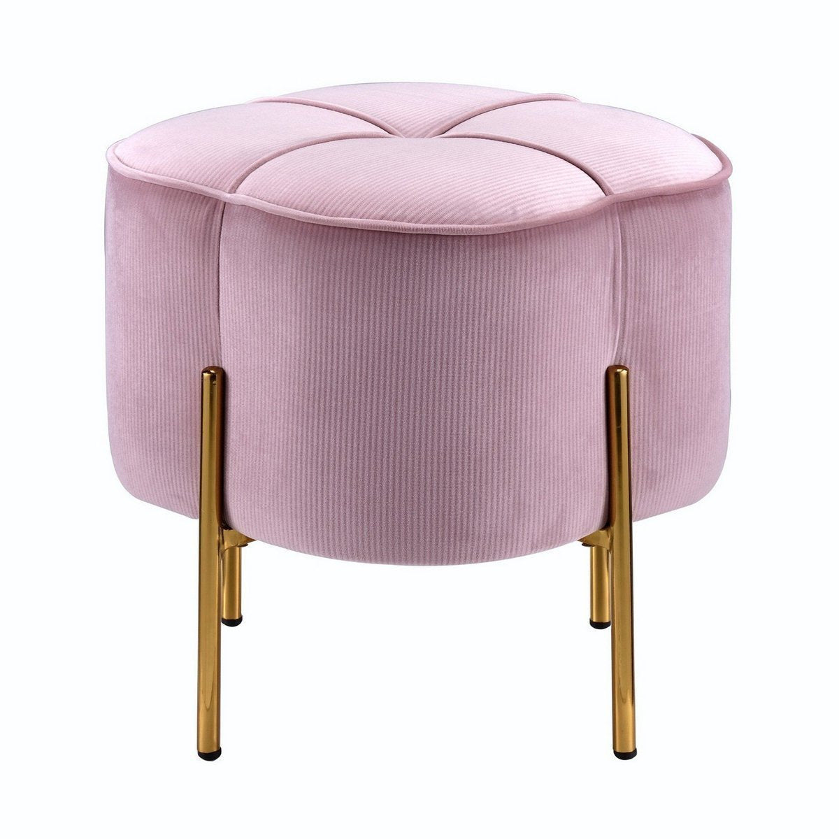 Ottomans - Fabric Upholstered Ottoman With Sleek Straight Legs, Pink And Gold