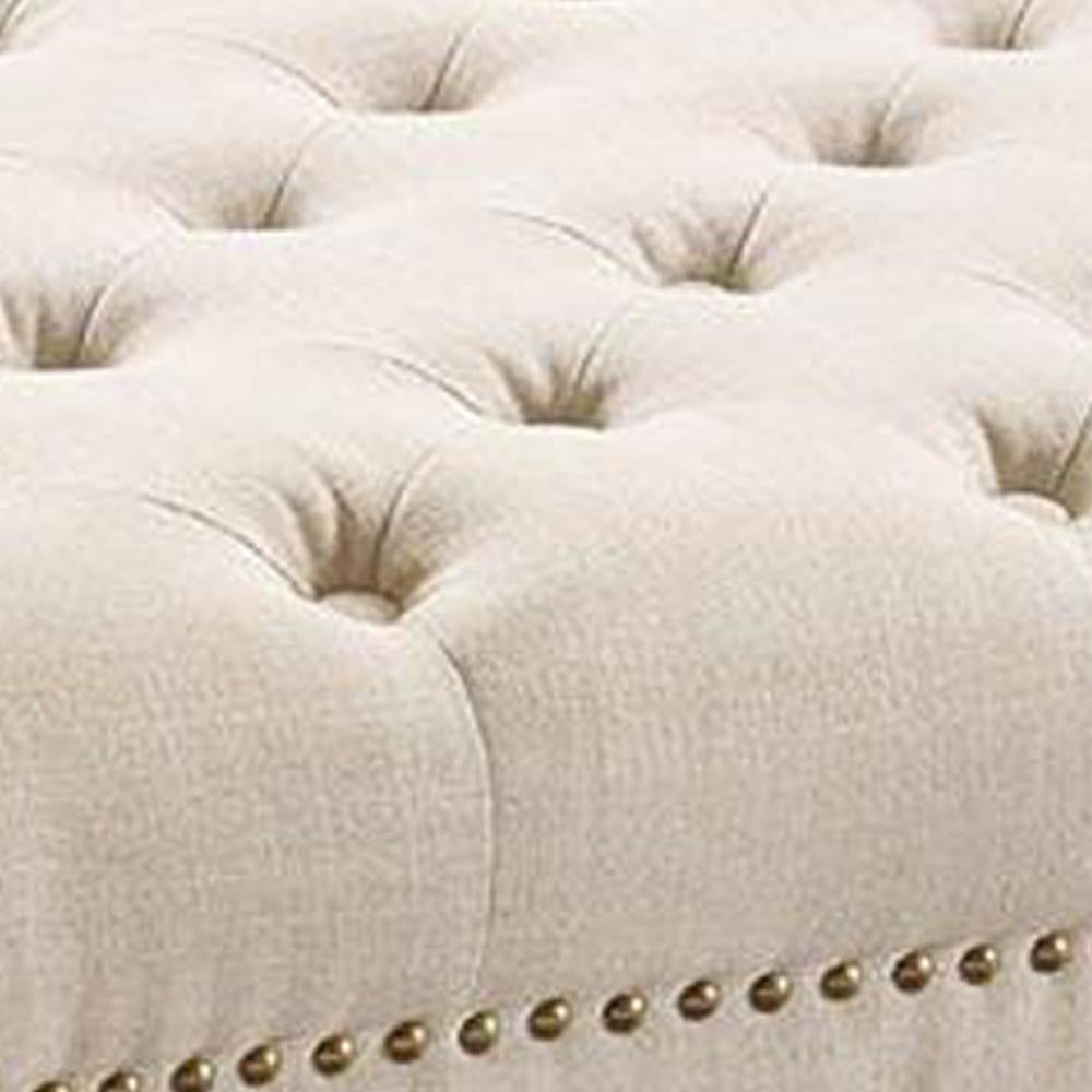 Ottomans - Fabric Upholstered Wooden Ottoman With Tufting Details,White And Black