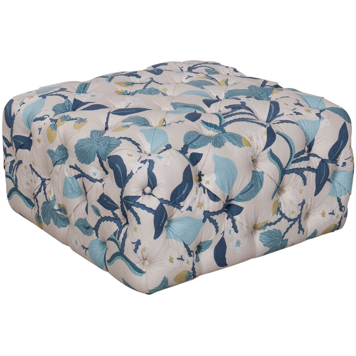 Ottomans - Floral Patterned Fabric Upholstered Wooden Ottoman With Button Tufted Detailing, Multicolor
