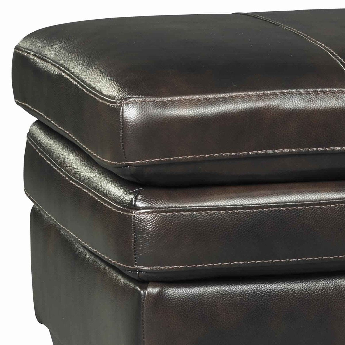 Ottomans - Leatherette Wooden Frame Ottoman With Block Legs,