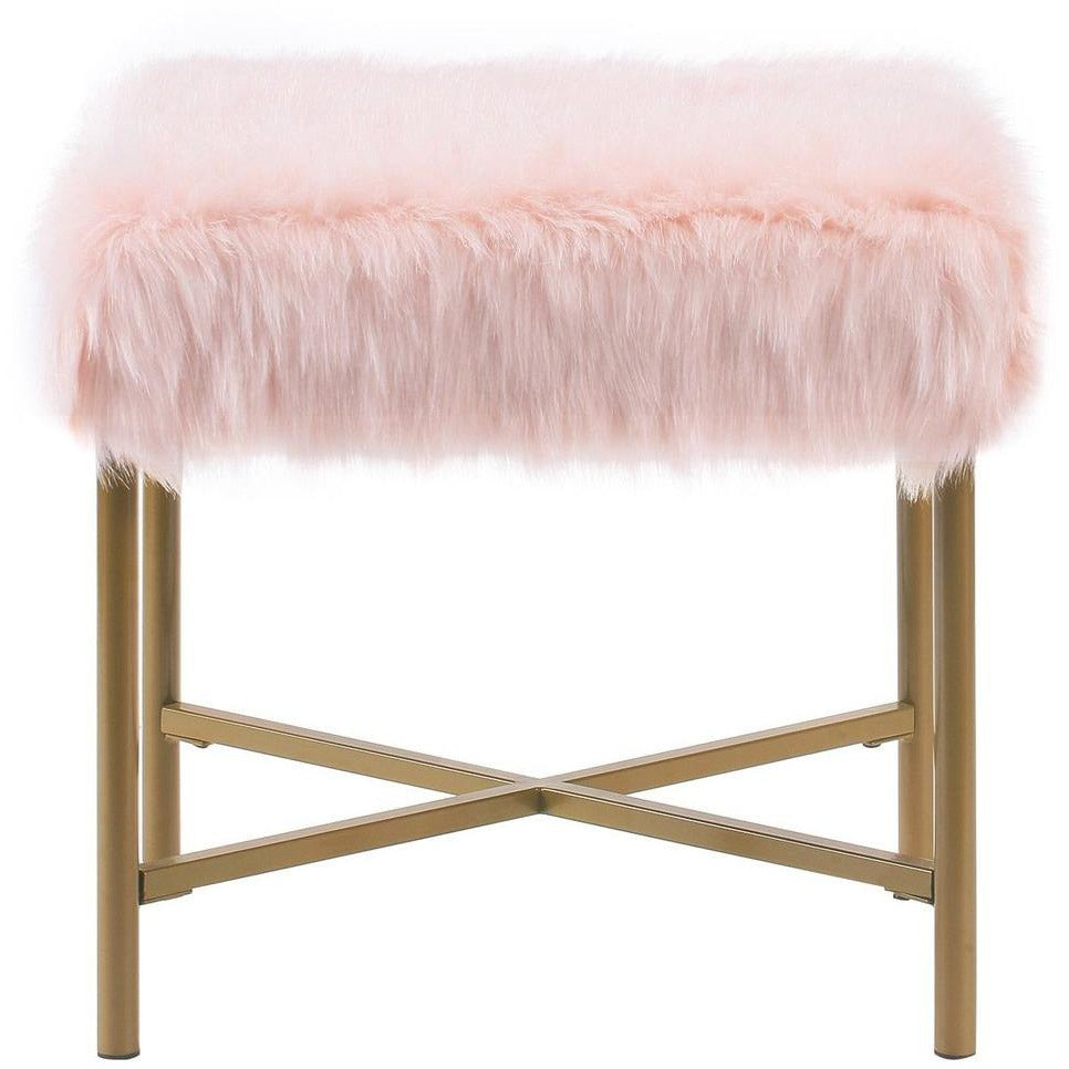 Ottomans - Square Faux Fur Upholstered Ottoman With Tubular Metal Legs And X Shape Base, Pink And Gold