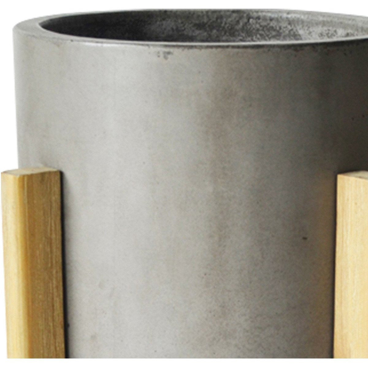 Planters - Modern Concrete Round Planter With Cross H Wood Base, Brown And Gray
