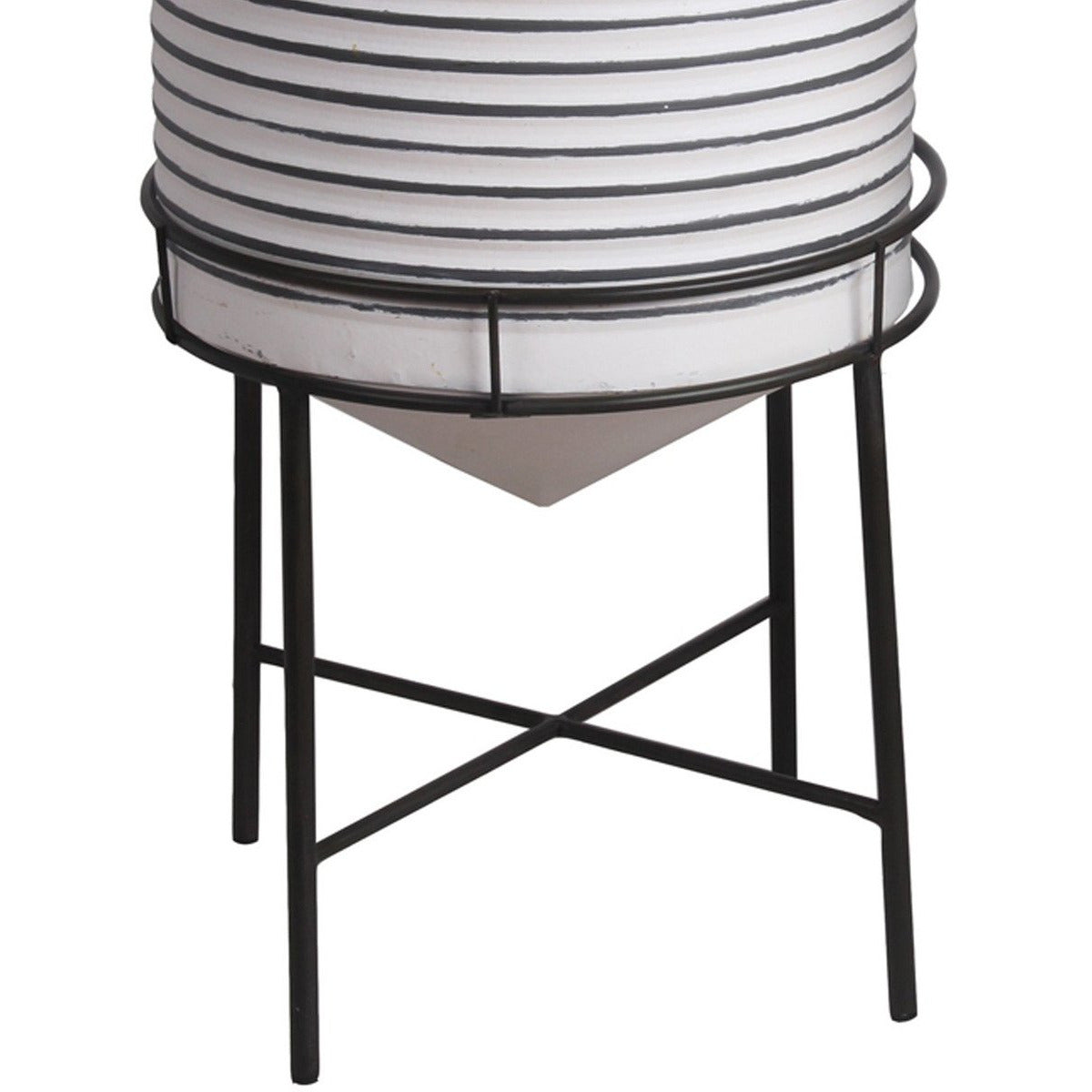 Planters - Round Cylindrical Metal Planter With Tubular Legs, Set Of 2,White And Black