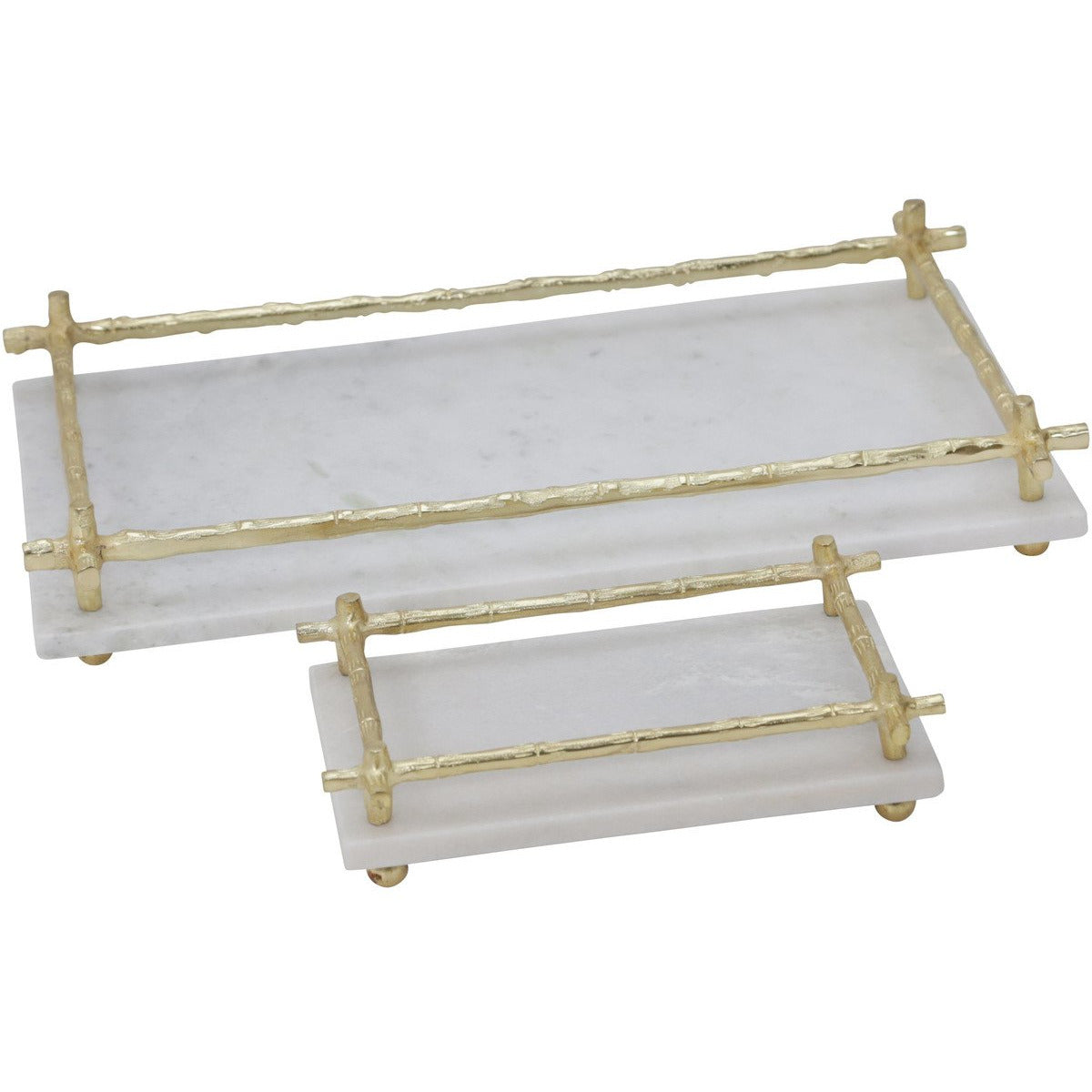Serving Trays - Rectangular Marble Tray With And Metal Handle, Set Of 2,White And Gold