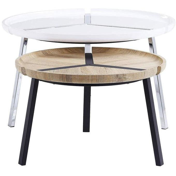 Side & End Tables - 2 Piece Round Nesting Table With Metal Tripod Base, White And Brown