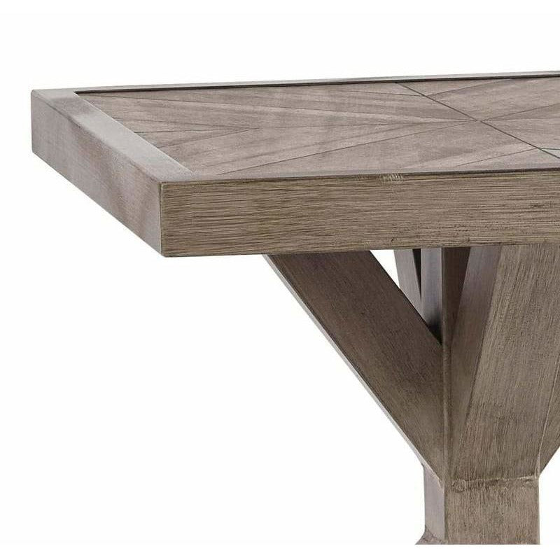 Side & End Tables - Farmhouse Style Square Aluminum End Table With Cross Pedestal Base, Brown