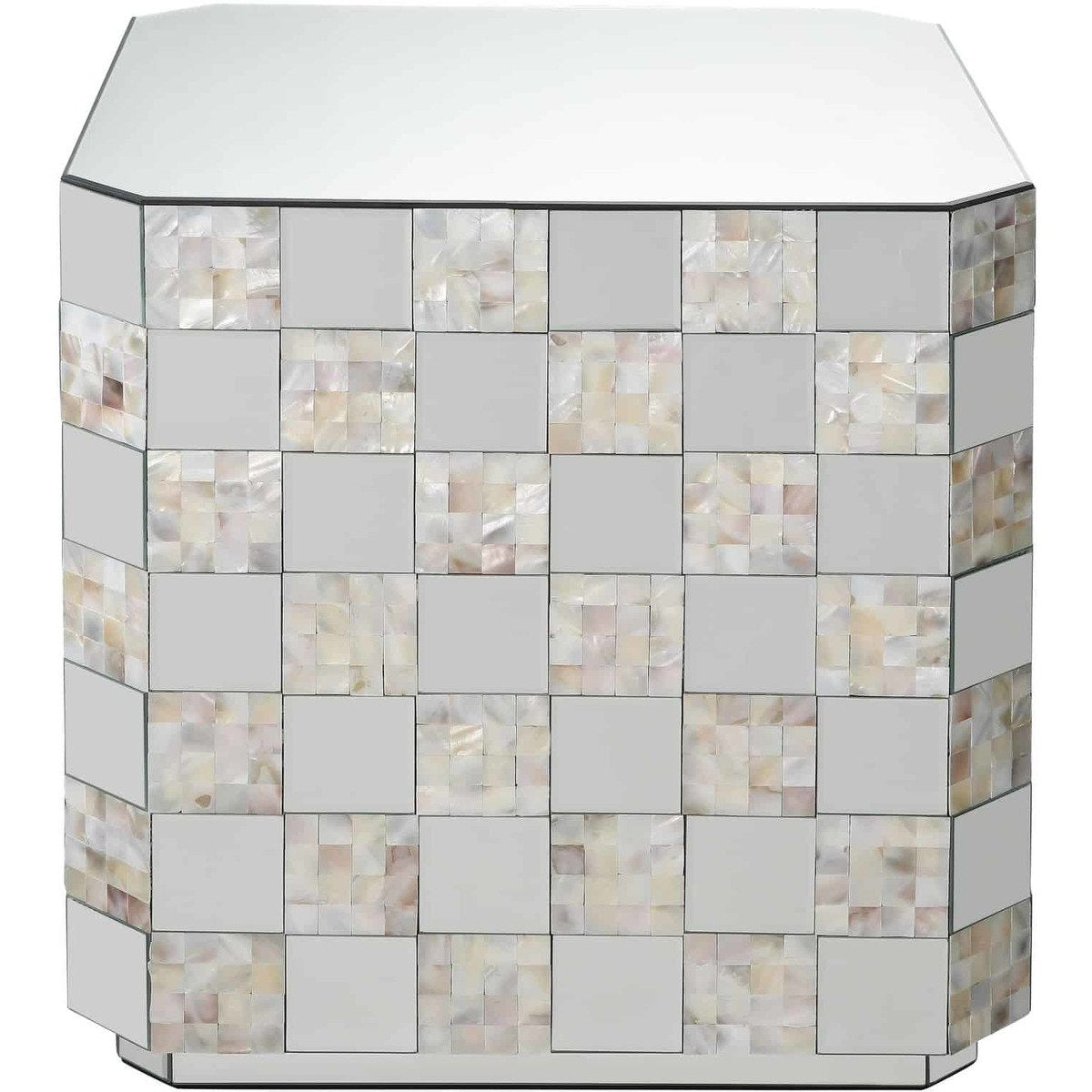 Side & End Tables - Wooden End Table With Checkered Pattern Mirror Insets, Silver