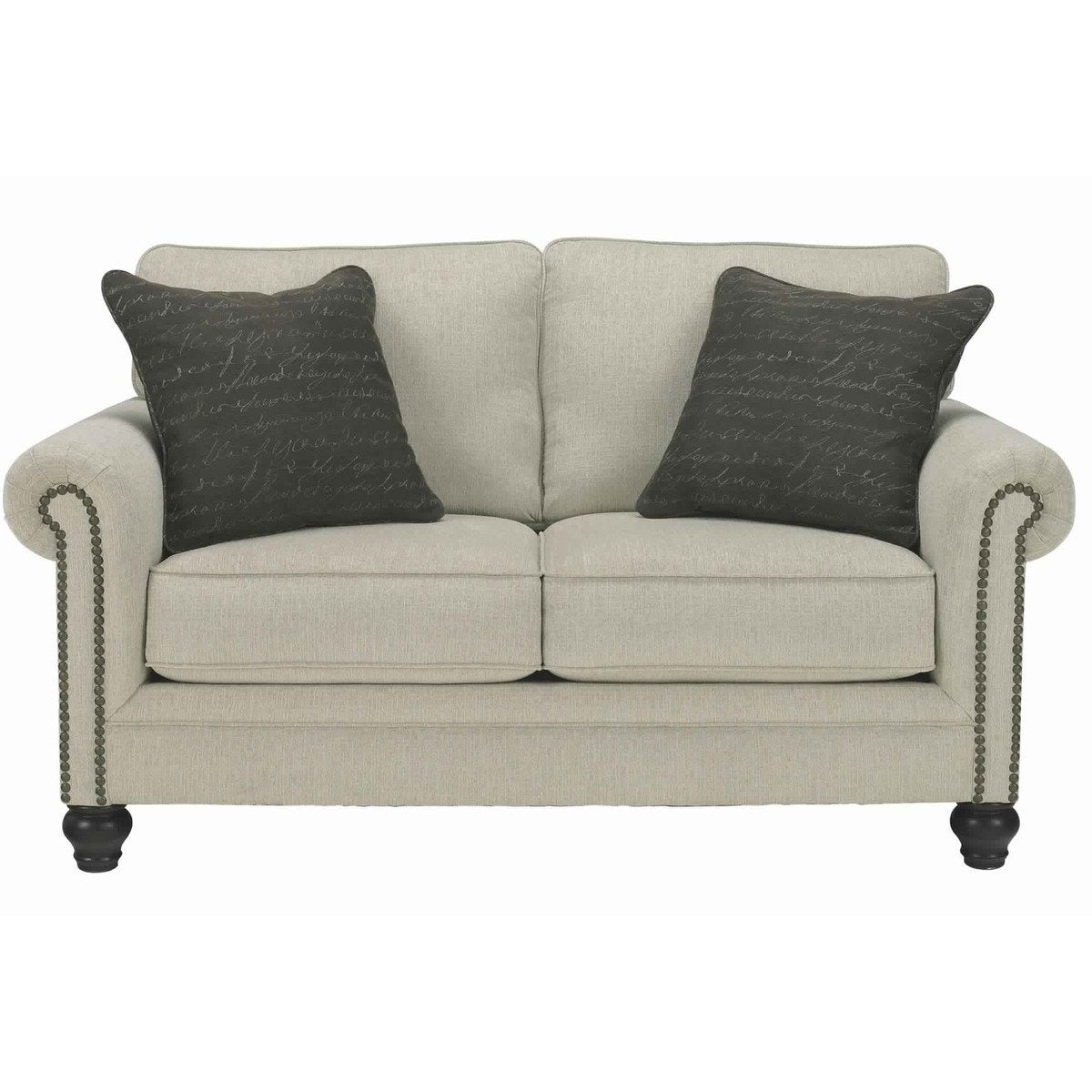 Sofas, Sectionals & Loveseats - Fabric Upholstered Wooden Loveseat With Nailhead Trim Details,