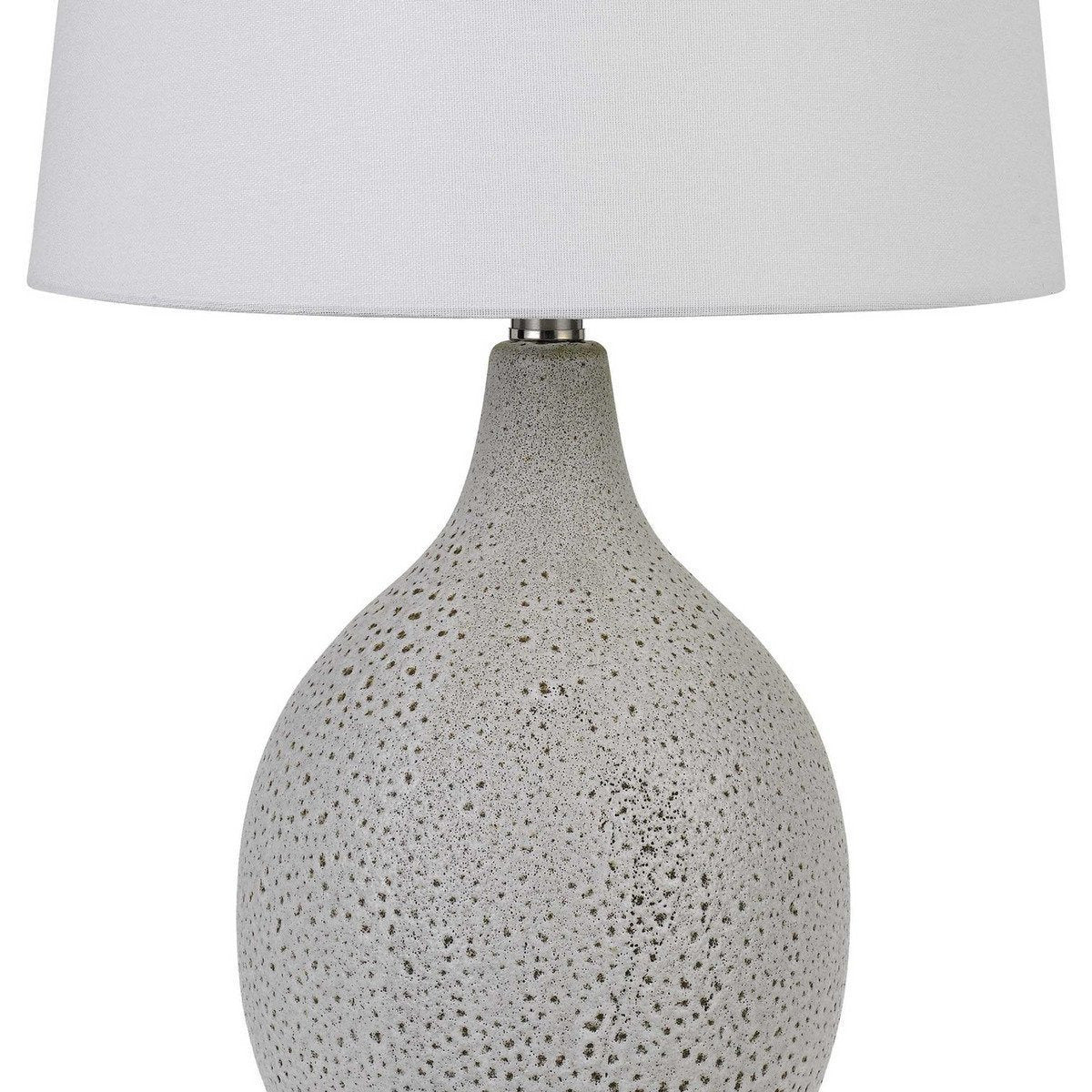 Table Lamps - Textured Ceramic Table Lamp With Round Base, White And Chrome