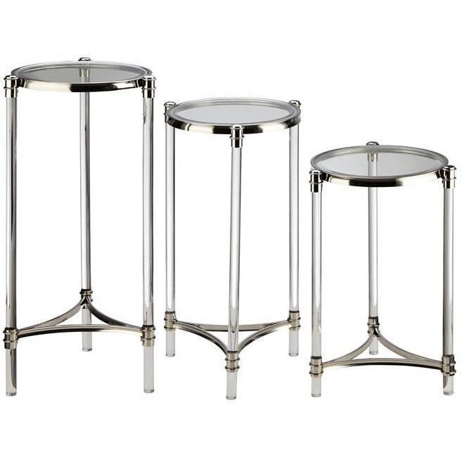 Tables, Accent Tables - NK Stefford Acrylic And Glass Tables - Set Of 3
