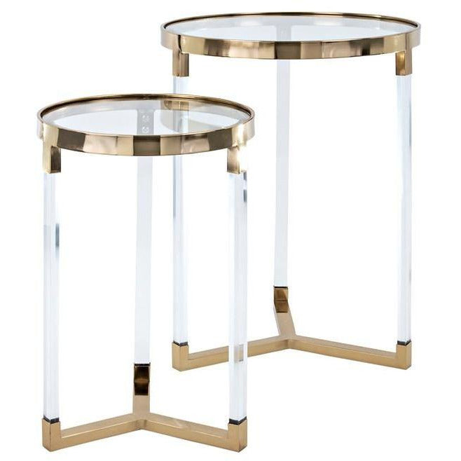 Tables, Accent Tables - NK Verrill Acrylic And Glass Tables - Set Of 2