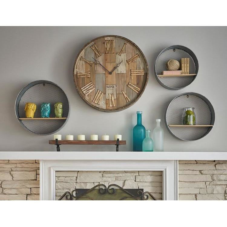 Wall Clocks - Wine Barrel Wood Wall Clock