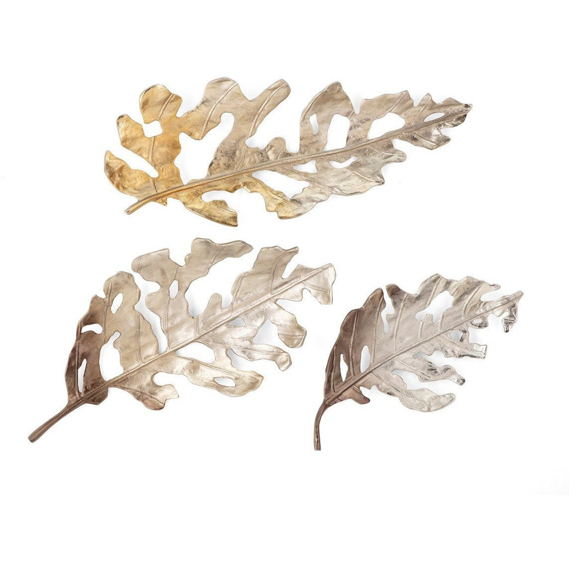 Wall Decor - NK Friston Aluminum Leaf Wall Decor - Set Of 3