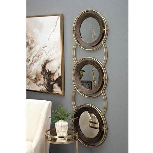 Wall Mirrors - Fallen Carved Wood And Metal Mirror