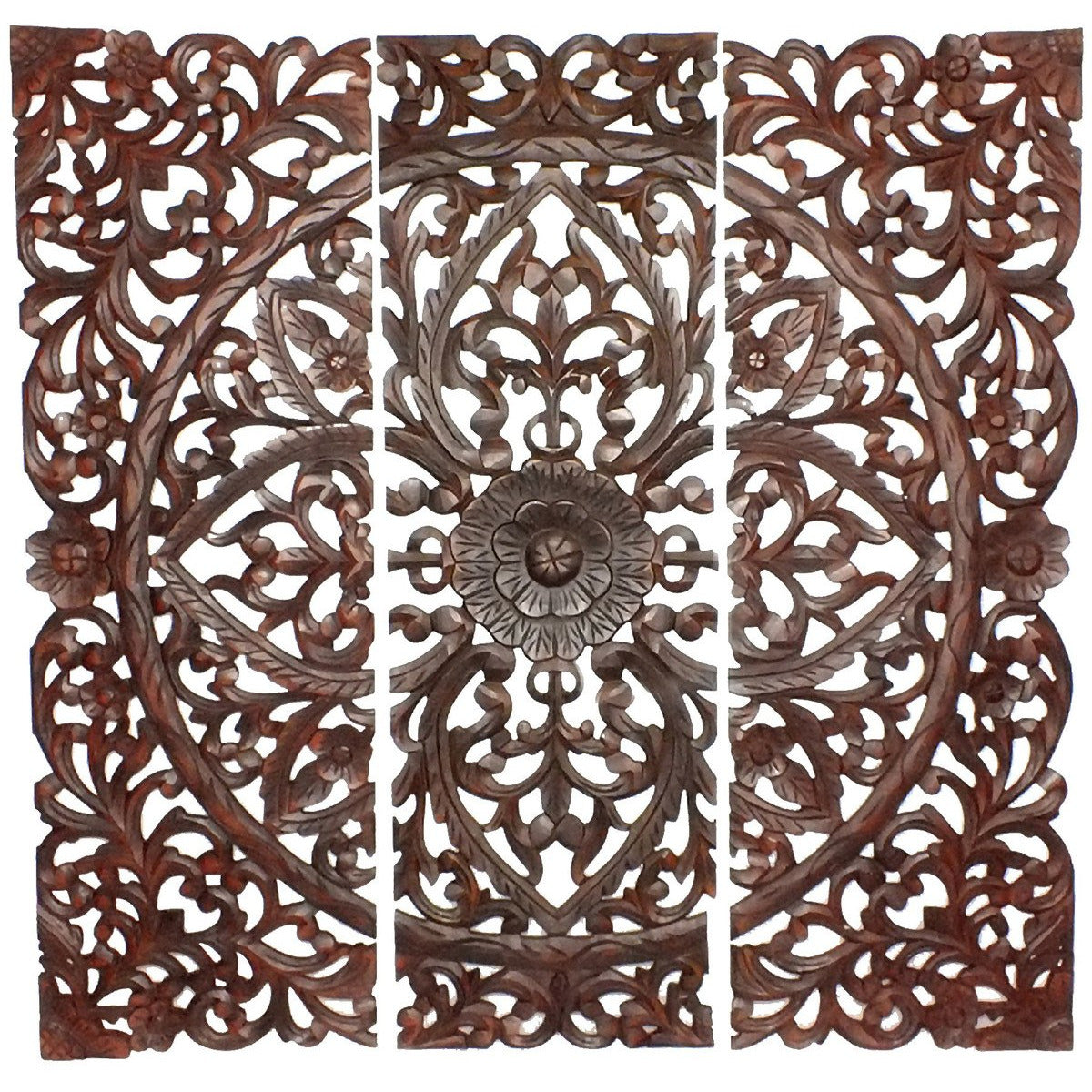 Wall Panel - Three Piece Wooden Wall Panel Set With Traditional Scrollwork And Floral Details, Brown