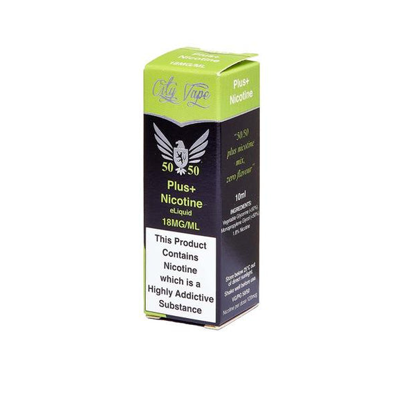 18mg City Vape Flavourless Nicotine Shot 10ml (50VG-50PG) - www.vapein.co.uk