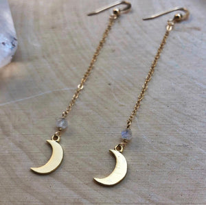 long gold moonstone earrings