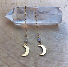 Load image into Gallery viewer, long gold moonstone earrings
