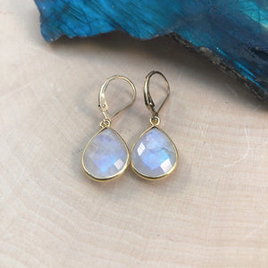 rainbow moonstone huggie earrings