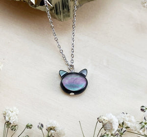 PEARLY BLACK CAT | NECKLACE