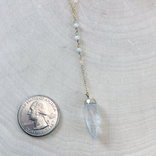 Load image into Gallery viewer, QUARTZ & MOONSTONE PENDULUM | LARIAT NECKLACE