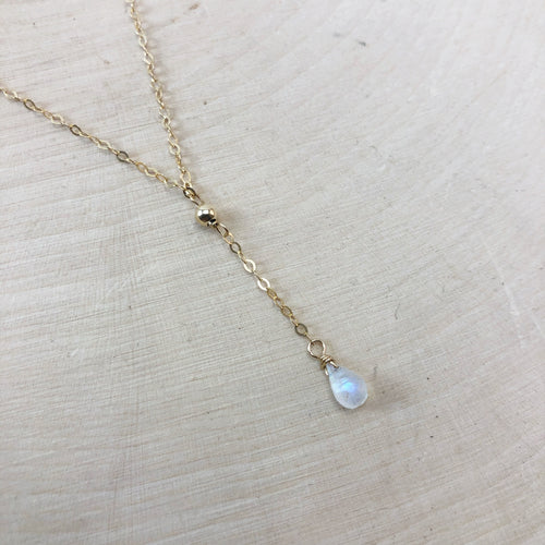 TINY MOONSTONE | LARIAT NECKLACE