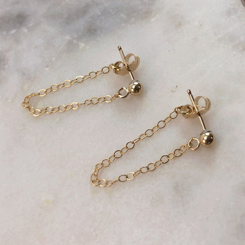 ball and chain huggie earrings