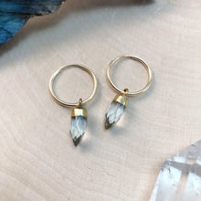 Load image into Gallery viewer, small gold hoops with tiny quartz crystals