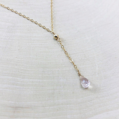 TINY ROSE QUARTZ | LARIAT NECKLACE