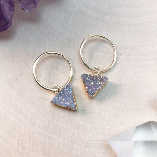 TRIANGLE DRUZY | SMALL HOOP EARRINGS