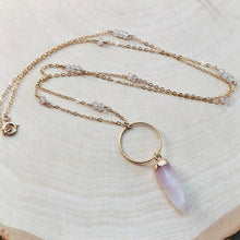 Load image into Gallery viewer, ROSE QUARTZ HALO | LONG NECKLACE
