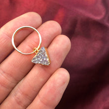 Load image into Gallery viewer, small gold hoops with druzy triangles