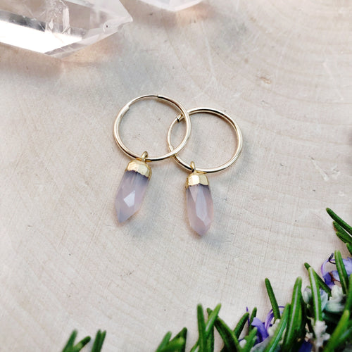 small gold hoop earrings with rose quartz