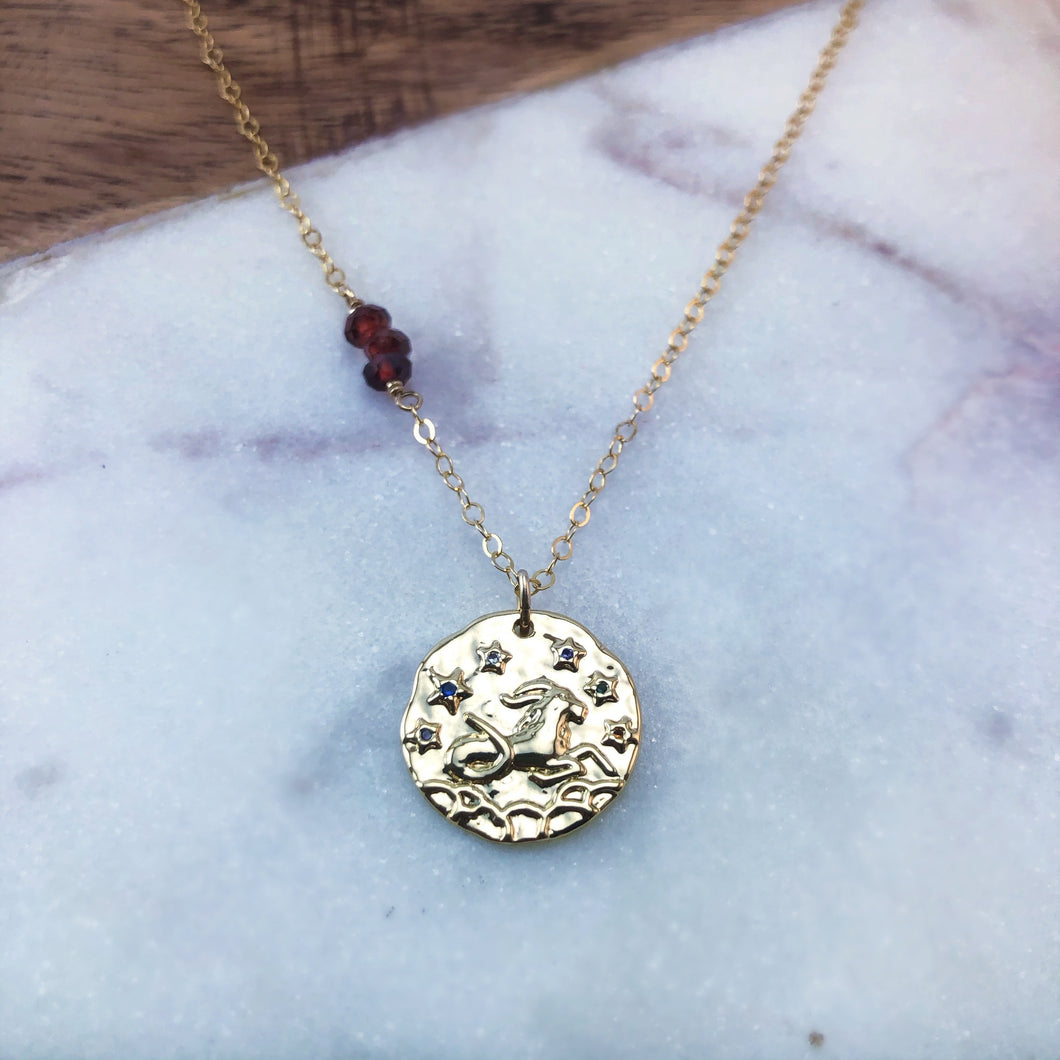 Capricorn zodiac pendant necklace