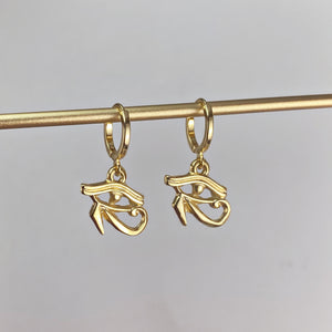 EYE OF HORUS | HUGGIE HOOP EARRINGS
