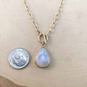 RAINBOW MOONSTONE | TOGGLE NECKLACE