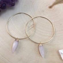 Load image into Gallery viewer, large gold hoop earrings with rose quartz
