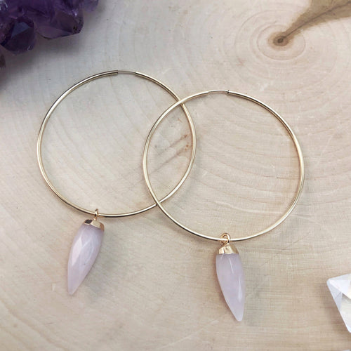 large gold hoop earrings with rose quartz