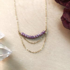 PINK SAPPHIRE CHANDELIER | NECKLACE