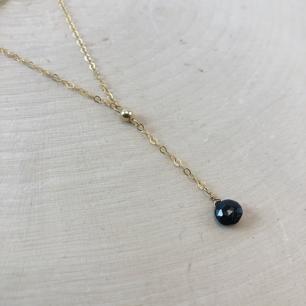 TINY SPINEL | LARIAT NECKLACE
