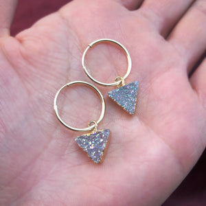 small gold hoops with druzy triangles