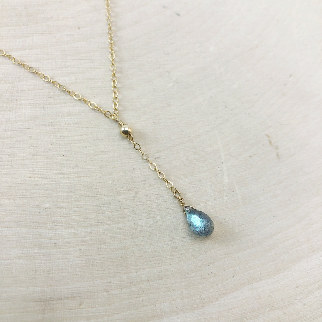 TINY LABRADORITE | LARIAT NECKLACE
