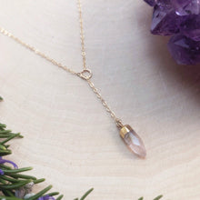 Load image into Gallery viewer, ROSE QUARTZ SLIDING | LARIAT NECKLACE