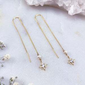 PEARL NORTH STAR | THREADER EARRINGS