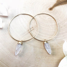 Load image into Gallery viewer, large gold hoop earrings with quartz crystals
