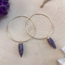 Load image into Gallery viewer, large gold hoop earrings with amethyst