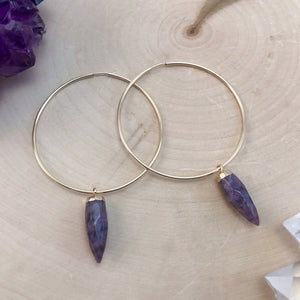 large gold hoop earrings with amethyst